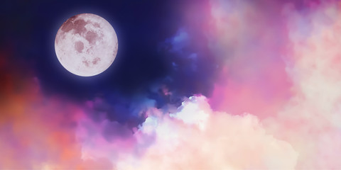 Colorful artistic panorama view of beautiful Fantasy Moon and cosmic clouds illustration background.Image of moon furnished by NASA.