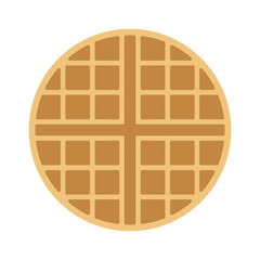 Round waffle breakfast flat vector color icon for food apps and websites