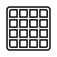 Square waffle breakfast vector line art icon for food apps and websites