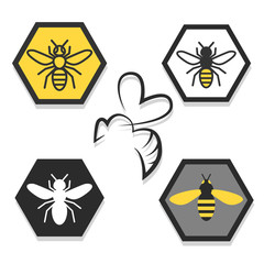 set of icons of bees