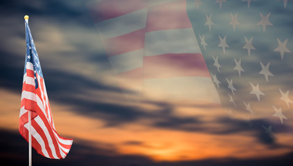 American Flag with background for Memorial, Flag, Independence, Election and Veterans Day