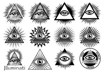 Illuminati symbols, masonic sign, all seeing eye