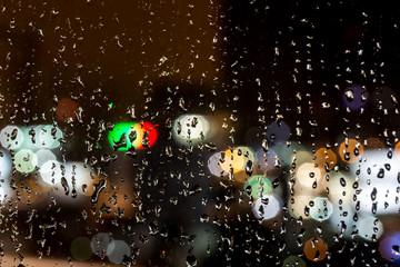 raindrops in the night window