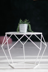 Loft design geometric white table with flower in bucket pot isolated on black background. Modern interior concept