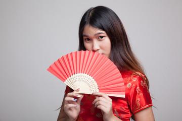 Asian girl in chinese cheongsam dress