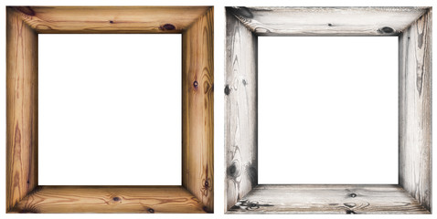 set of wooden frames isolated on white