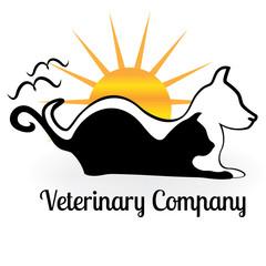 Logo dog cat birds and sun symbol