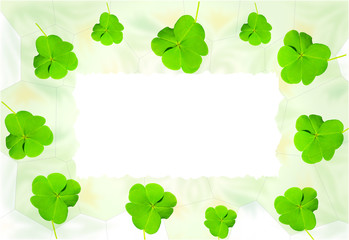 Frame of green clover leafs picture background