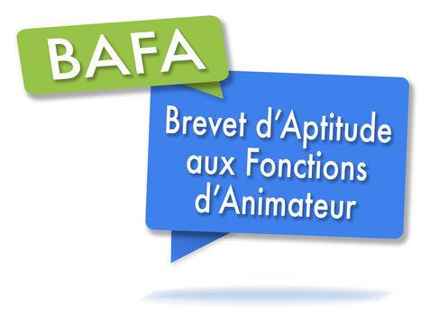 French BAFA certificate initals in colored bubbles