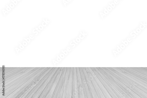 Wood Floor Perspective View With Wooden Texture In Light Grey Color