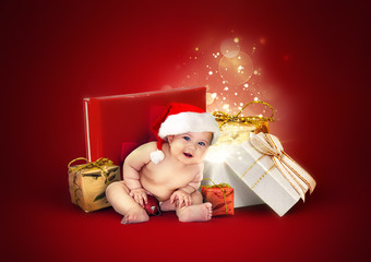 cute baby with gifts