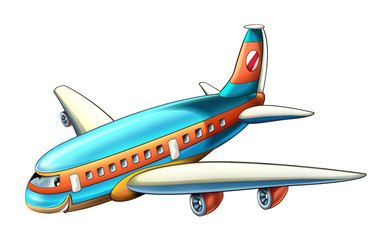 cartoon scene with plane flying and smiling illustration for children