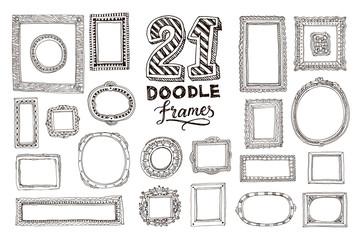 Hand drawn doodle frames set. Vector illustration.