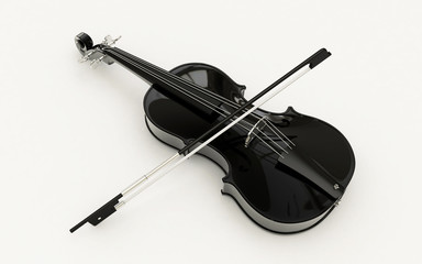 3d rendered violin isolated on white background