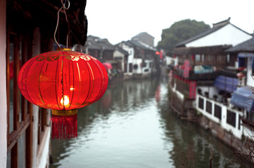 Red Chinese lantern in Zhujiajiao water town outside Shanghai