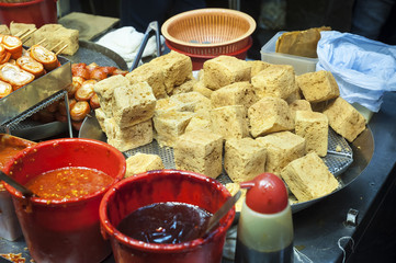 Stinky fried tofu at a Hong Kong street food stall