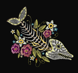 Embroidery fish bone and flowers, gothic art background. Embroidery summer flowers and skeleton of fish, sea art seamless pattern. Fashionable template for design of clothes, t-shirt design
