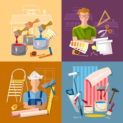 House repair. Painter man work with roller set. Professional instrument of painter. Painter paints walls, pastes wall wall-paper. Planning and design of repair