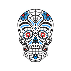 Sugar skull. Colorful tattoo. Mexican Day of the Dead. Vector illustration.
