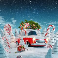 Red Santa's car
