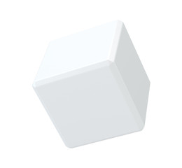 White cube in isolated background. 3d rendering