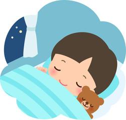 眠る幼い男の子とぬいぐるみ