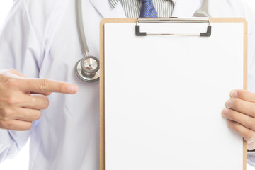 Close-up of a male doctor with lab coat and holding blank clipboard