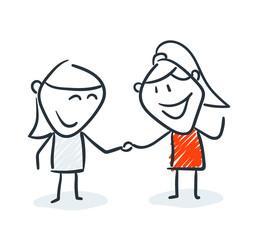 Strichfiguren - Frauchen: Freunde, Händchen halten. (5)