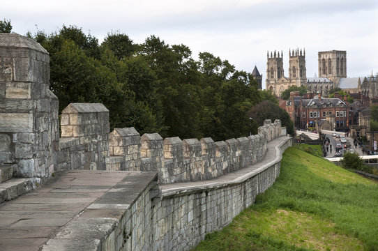 York Minster seen from the city walls, York, UK