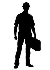 Builder vector silhouette, outline male workman repairman standing front side full-length, contour portrait human in coveralls, with a suitcase for tools in hand, isolated on white background