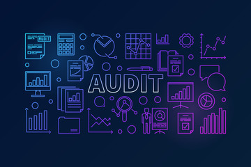 Audit horizontal vector colorful banner