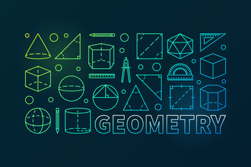 Geometry colorful vector outline banner