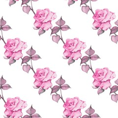 Floral seamless pattern. Watercolor background with roses 11