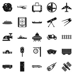Advanced technology icons set, simple style