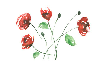 Watercolor vintage pattern - red flower rose. Decorative element on a white background isolated