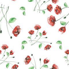 Watercolor Vintage seamless pattern with drawing roses, dogrose flowers..Watercolor floral pattern from plants, red rose. The leaves, flower and bud on a white background.
