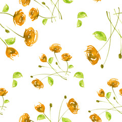 Watercolor Vintage seamless pattern with drawing roses, dogrose flowers..Watercolor floral pattern from plants, Orange rose. The leaves, flower and bud on a white background.