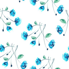 Watercolor Vintage seamless pattern with drawing roses, dogrose flowers. Watercolor floral pattern from plants, blue rose. The leaves, flower and bud on a white background.