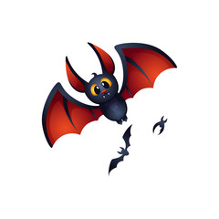 Cute cartoon bat character for your design. Vector illustration.