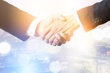 business success concept with business man handshake with meeting prople blur background