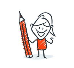 Strichfiguren - Frauchen: Stift, Zeichnung, Notiz. (11)