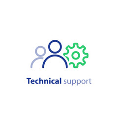 IT support, tech professional, system maintenance concept, teem work, vector icon
