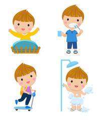 Healthy hygiene for boy cartoon