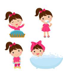 Healthy hygiene for girl cartoon