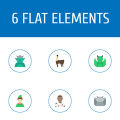 Flat Icons Elf, Evil, Mythology And Other Vector Elements. Set Of Cartoon Flat Icons Symbols Also Includes Zombie, Troll, Dinosaur Objects.