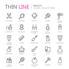 Collection of beauty thin line icons