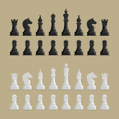 Vector illustration Chess Figures big set, black and white.