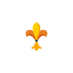 Flat Icon Fleur De Lis Element. Vector Illustration Of Flat Icon Ornament Isolated On Clean Background. Can Be Used As Fleur, De And Lis Symbols.