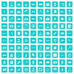 100 passport icons set grunge blue