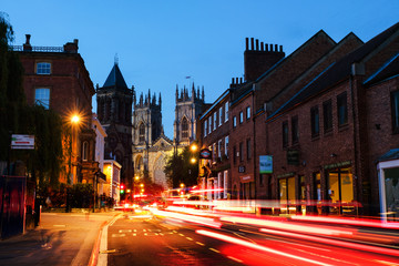 Sundown of central York, UK, with York Minster cathedral Wall mural
